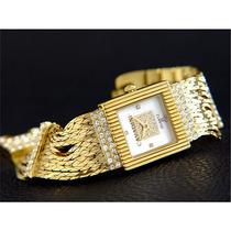 Relógio Feminino Dourado Quartz Cavadini Pulseira Trabalhada
