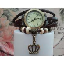 Relógio De Pulso Vintage Feminino Em Couro -brinde Exclusivo