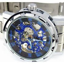 Relógio Winner Skeleton Preto Azul Caixa Transparente