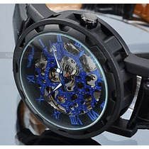 Relógio Sport Azul Black Skeleton Automático Winner Couro