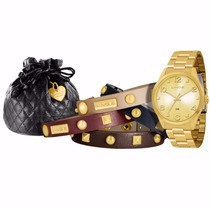 Relógio Lince Dourado (orient Kit 4 Pl Lrg4215l Prova Dágua