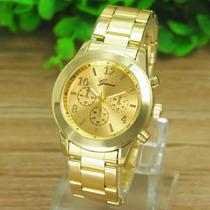 Relógio Feminino Dourado Strass Aço Inox Geneva-frete Grátis