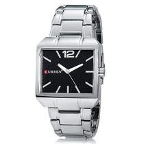 Relógio Luxo Curren Preto Robusto Quadrado Prata Aço Inox