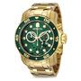 Relógio Invicta Pro Diver 0075 - Banhado À Ouro 18k Novo
