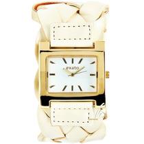 Relógio Feminino Exato Novo Bracelete Dourado Couro Creme