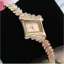Relógio Bracelete Feminino Dourado Com Strass Elegante