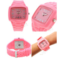 Relógio Feminino Exato Rosa Prata Silicone Grande Original