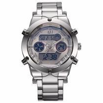 Relógio Masculino Analógico Digital Em Aço Inox Iluminação