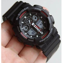 Relógio G-shock Sport Ga100 Branco Preto Azul Prova D