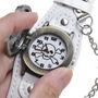 Relógio Rock Com Bracelete De Couro Branco. Frete Grátis.