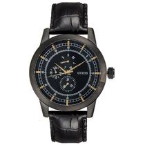 Relógio Cronografo Guess Steel W0187g3 Pulseira Couro Preto