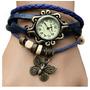Relógio Vintage Feminino Azul - Couro Sintético + Pingente
