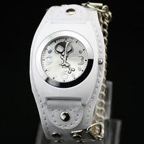 Relógio Bracelete De Couro Skull Black White. Frete Grátis