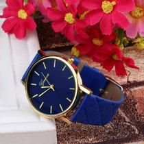 Relógio Feminino Azul E Dourado Social Bonito E Barato