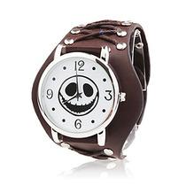 Relógio Bracelete De Couro Face Rock. +brinde+frete Grátis.