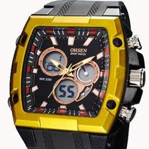 Relógio Ohsen Esportivo Retangular Dig/analog Dourado