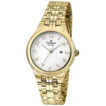 Relógio Feminino Champion Dourado Cs28389h Com Calendário