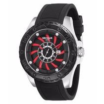 Relógio Seculus Caixa 50mm Catraca Ip Black Mostrador Grande