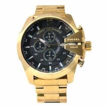 Relógio Diesel Dourado Ouro Gold Fundo Preto Caixa Sedex