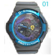 Relogio Cassio G-shock Preto E Azul Ferrari