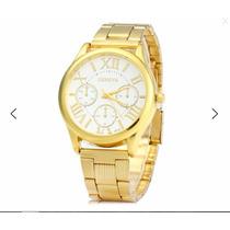 Relógio Masculino Banhado A Ouro Aço Inoxidável,fret Grátis