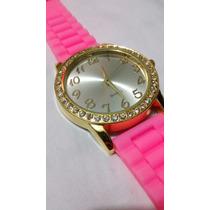 Relógio Feminino Moure Jar, Rosa Detalhes Em Pedras