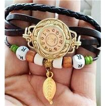 Relógio De Pulso Feminino Pulseira De Couro Vintage Ouro 9k