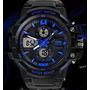 Relógio Sport Skmei Azul A Prova Dágua 30 M Luz Led Black