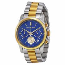 Relógio Michael Kors Mk6165 Prata Dourado Azul Com Caixa