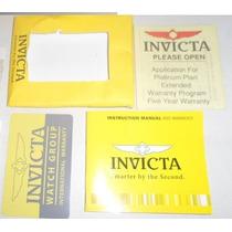 Manual Para Relógio Invicta E Cartão Garantia Internacional