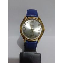 Relógio Feminino Eura Dourado Com Pulseira Azul Envio Já
