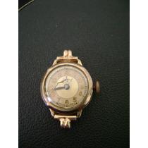Antigo Relógio De Pulso Feminino Em Plaquê De Ouro