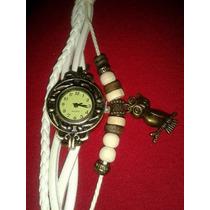 Bracelete De Relógio Trendy De Couro Branco. Pingente Coruja