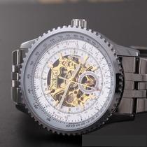 Relógio Jaragar Transparent Skeleton De Luxe-com Estojo