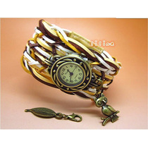 Relógio Pulseira Larga Bracelete Couro Feminino