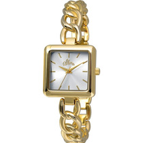 Relógio Allora Feminino Dourado Quadrado Al2035lf/4k