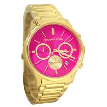 Relógio Michael Kors Mk5909 Dourado E Pink Com Caixa/manual.