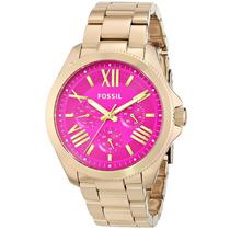 Relógio Feminino Fossil Am4539 Com Rosa Novo Original
