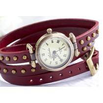 Relógio Vintage Longo Em Couro Com Rebites -brinde Exclusivo