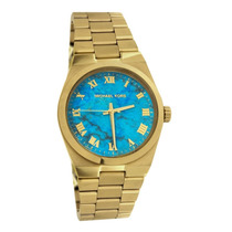 Relógio Michael Kors Mk5894 Dourado E Azul Lindo Com Caixa.