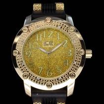 Relógio Hip Hop Dourado/preto 2 Brilhantes Invicta Nautica