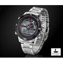 Relógio Sport Weide Vermelho Digital/analógico Pulseira Aço
