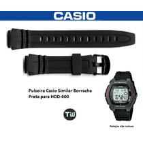 Pulseira Borracha Preta Casio Hdd-600 Similar