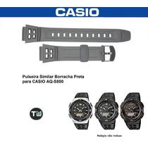 Pulseira Borracha Preta Casio Aq-s800 Similar