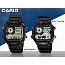 Relogio Casio Ae1200h Borracha Quadrado Crono 5alarm H.mundi