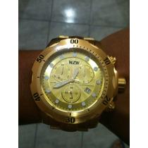 Relógio Wzw Fabricante Ferrari Dourado Masculino.