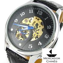 Relógio Importado Winner Preto Automático Máquina Aparente