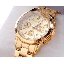 Relógio Analógico Feminino Aço Cromado Dourado C/ Calendário