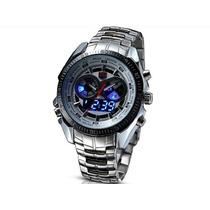 Relógio Led Analógico Dual Time Tvg Elite Em Aço Inoxidável