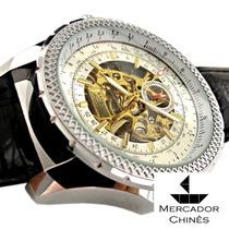 Relógio Importado Jaragar Automático Branco Gigante Aviador
